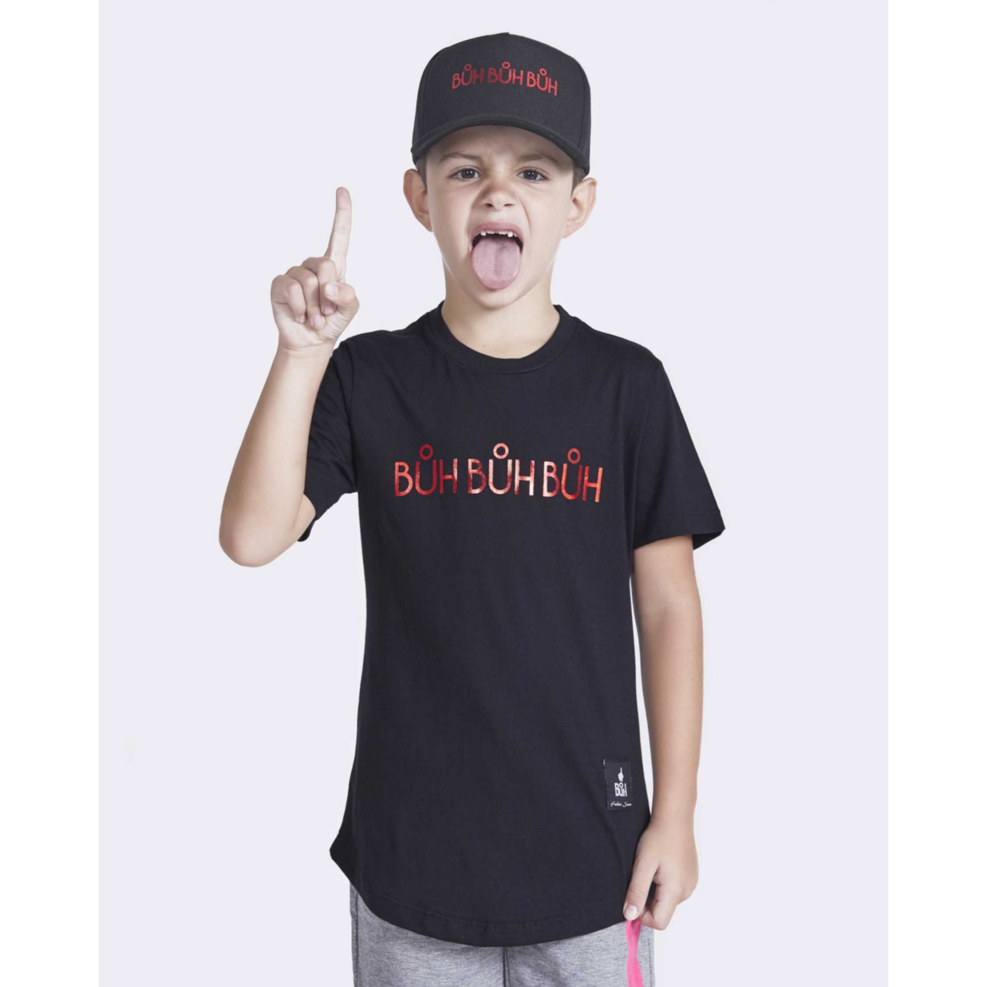 Camiseta Buh Kids Foil Black & Red