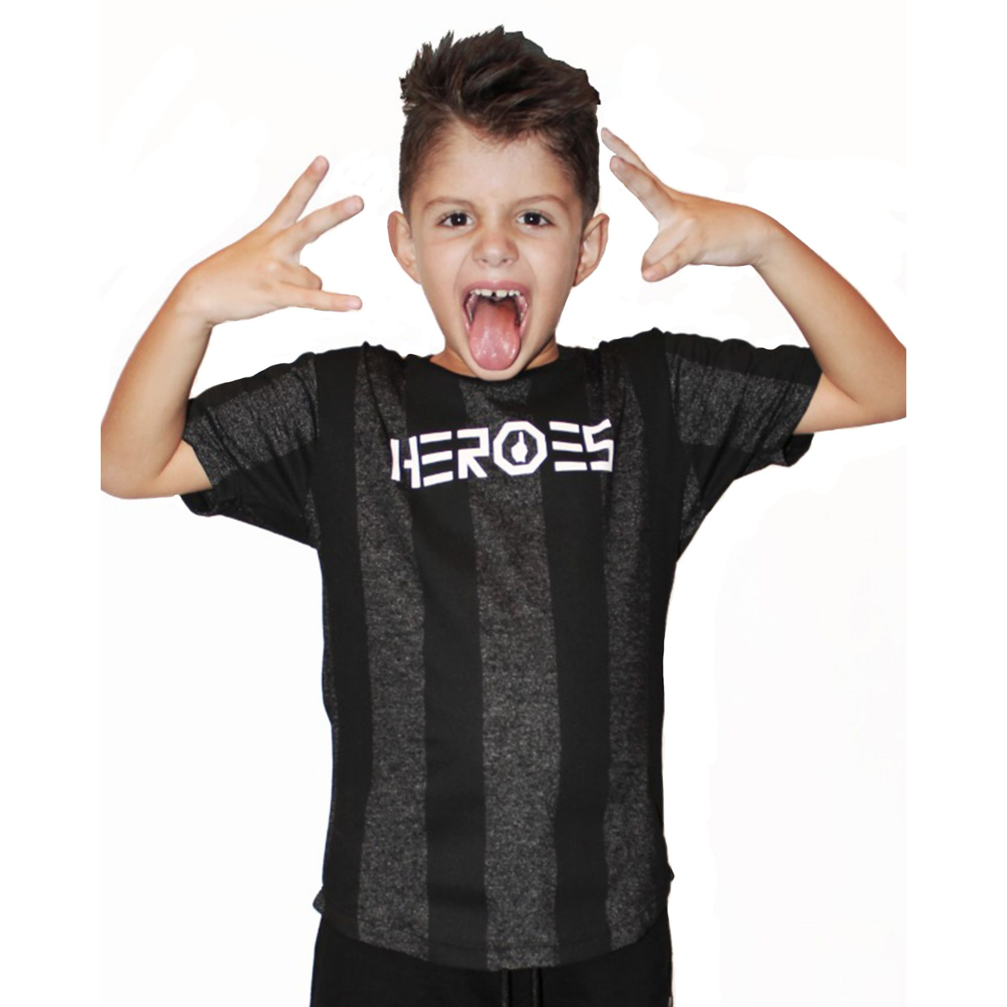 Camiseta Buh Kids Heroes Stripe Grey