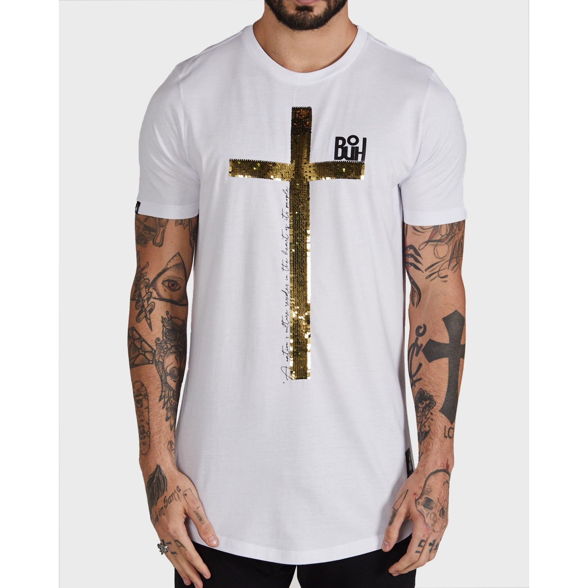 Camiseta Buh Paetê Cruz White