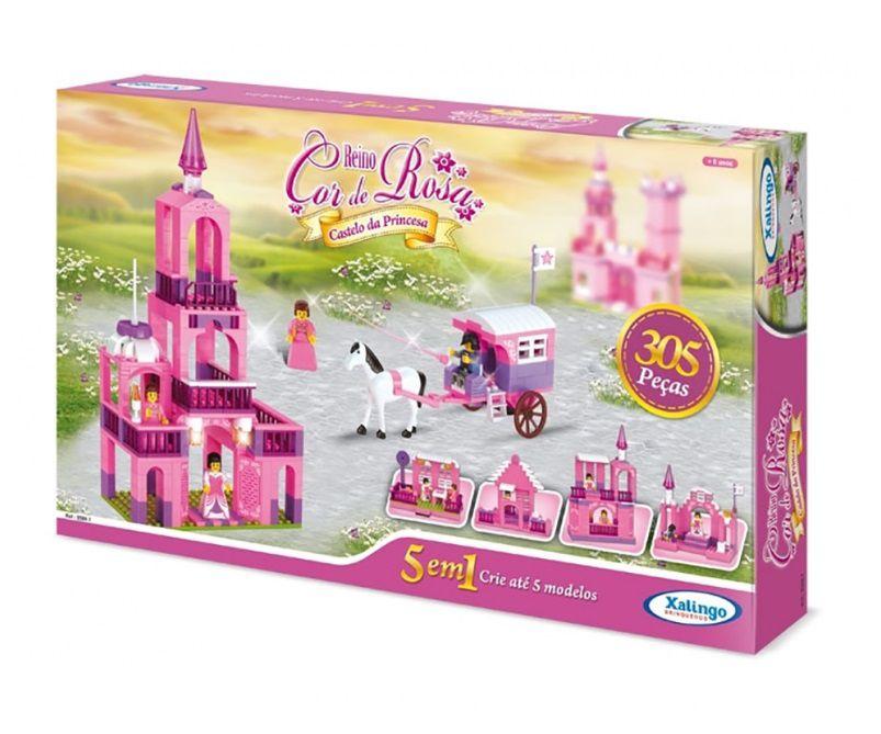 Blocos Reino Cor De Rosa Castelo Da Princesa Xalingo 305 Pç