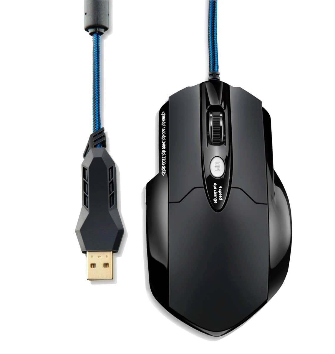 Mouse Gamer Usb Laser Mo191 Warrior 3200Dpi