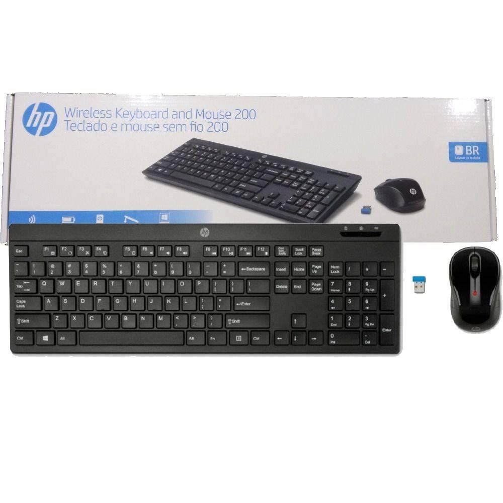 Teclado e Mouse sem fio HP C200 Preto