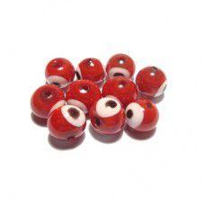Olho Grego Atacado 8mm Vermelho