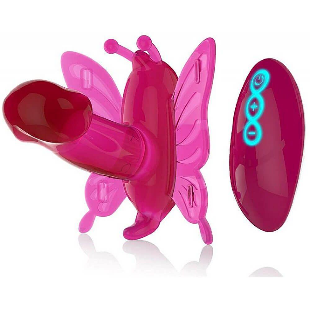 Estimulador Clitoriano Butterfly com Mini Pênis 20 Níveis de Vibração e Controle Remoto sem Fio - Double Vibrating Butterfly