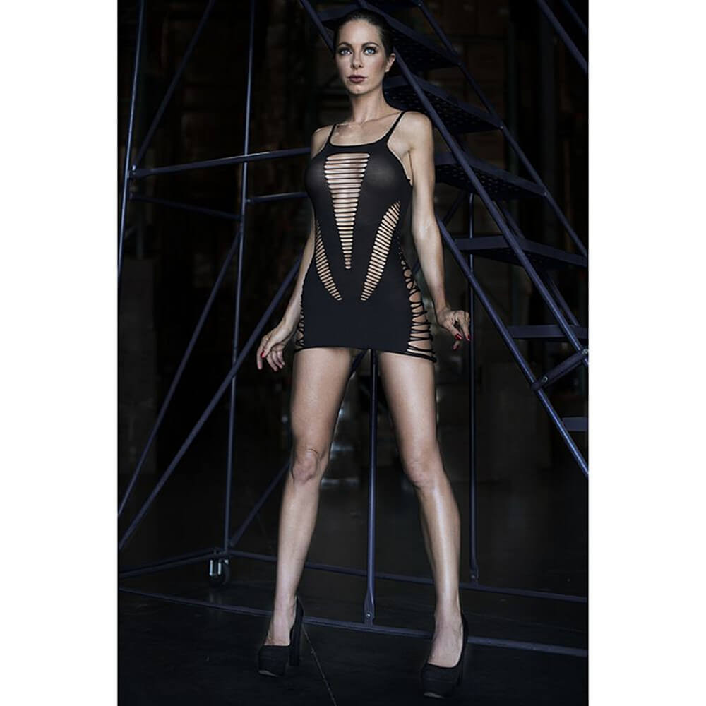 Mini Vestido sem Costura com Detalhes em Tiras - KingsPearl