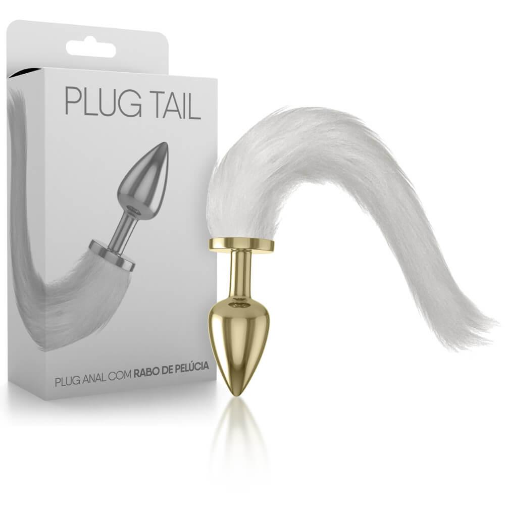 Plug Anal Tail em Metal Dourado com Rabo de Pelúcia Branco