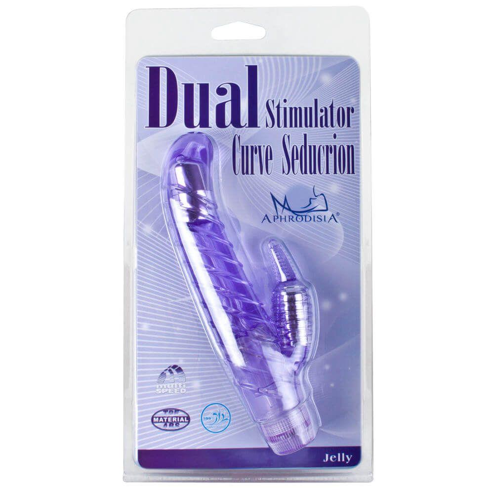 Vibrador Multivelocidade e Estimulador de Clitóris DUAL STIMULATOR CURVE SEDUCTION - 18,3 x 3 cm - Cor Rosa