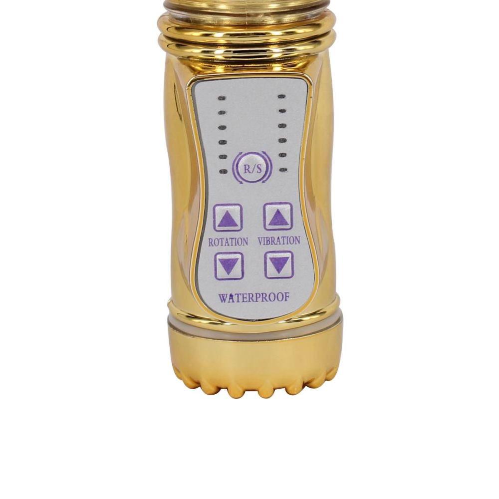 Vibrador Rotativo Ponto G com Estimulador Clitoriano Multivelocidade - 21,5 x 3 cm - Cor Dourado