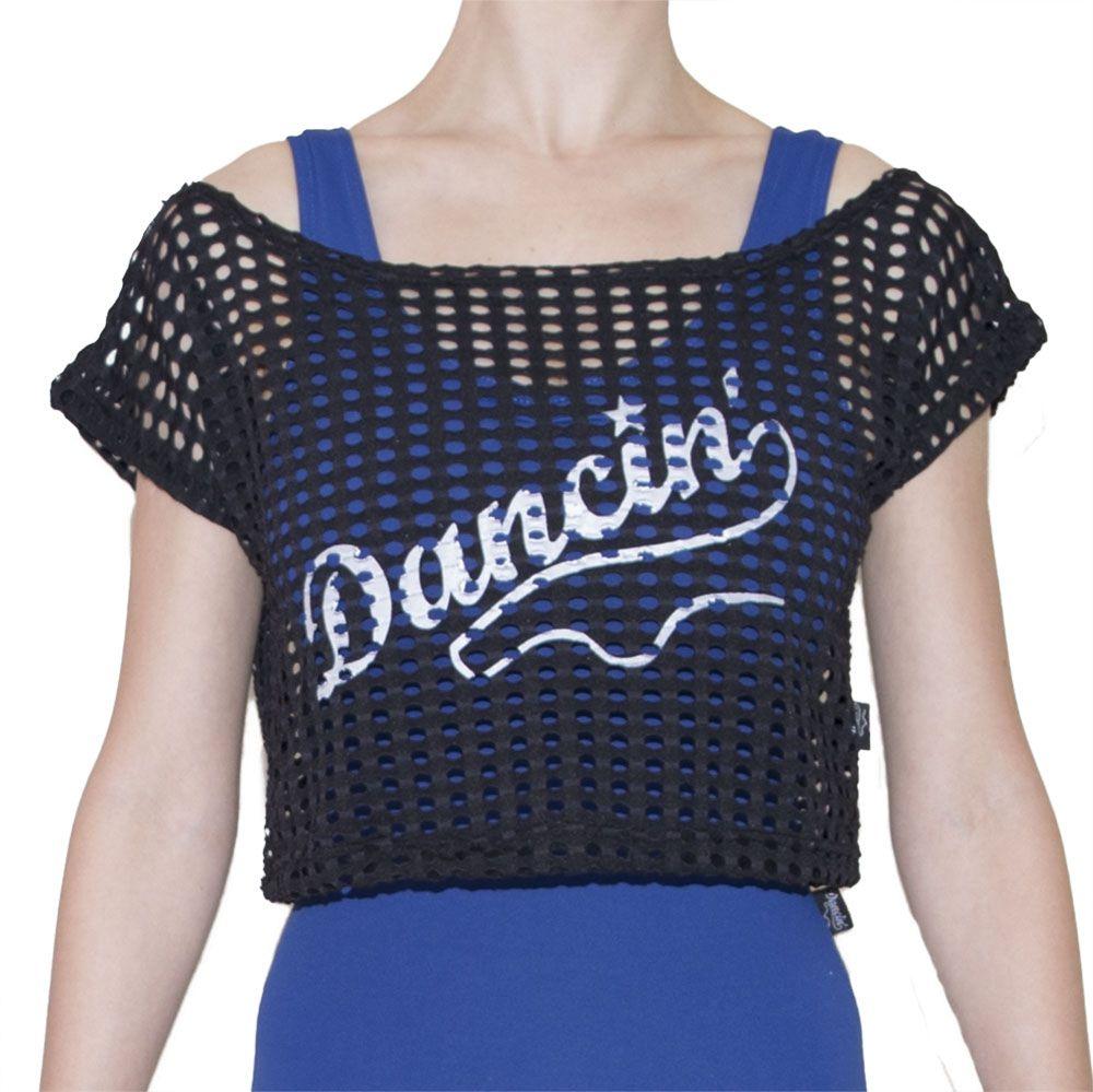 Blusa em Suplex furadinho modelo Cropped com estampa