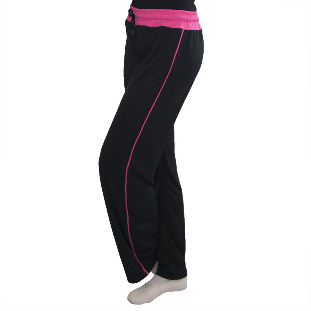 Calça em malha preta com cós e friso lateral em cores