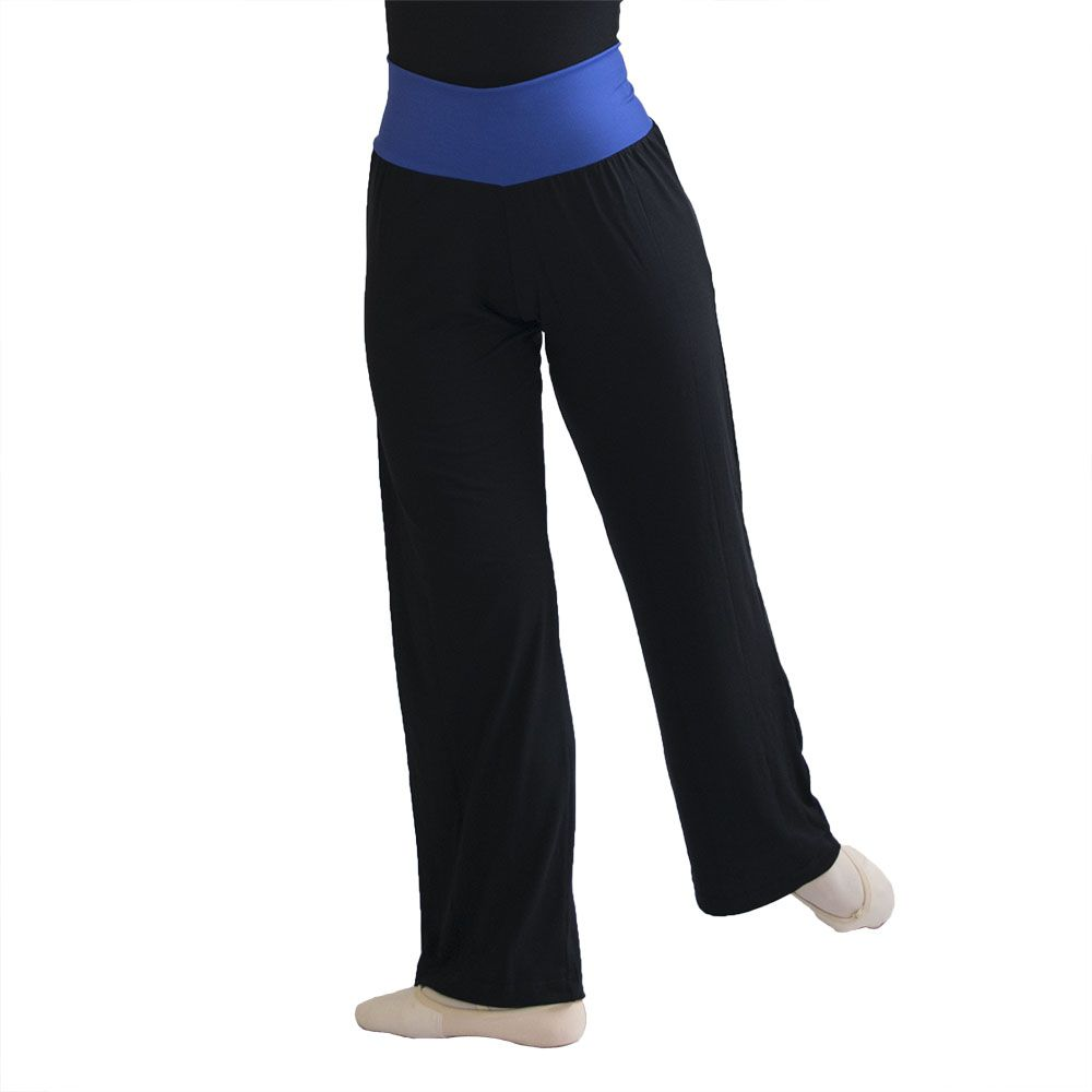 Calça Viscolycra preta com cós largo em Suplex em cores