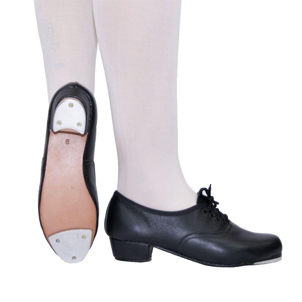 Sapato de sapateado com cadarço - Couro com plaquinha