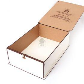 Caixa Padrinho 26x19x9cm Branca Com Mensagem Gravada na Tampa a Laser e Fecho para Porteção MDF Laminado Laqueado - Yper Criativo