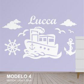 Painel Decorativo para Quarto Infantil Marinheiro Barco - MDF Yper Criativo