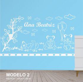 Painel Decorativo para Quarto Infantil Ursos com Balões - MDF Yper Criativo