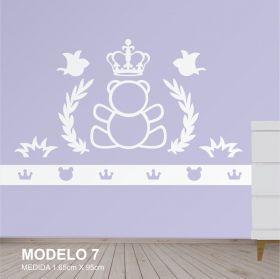 Painel Decorativo para Quarto Infantil Urso Coroa - MDF Yper Criativo