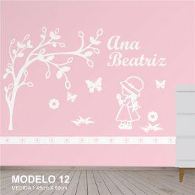Painel Decorativo para Quarto Infantil Menina Camponesa Arvore e Borboletas - MDF Yper Criativo
