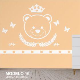 Painel Decorativo para Quarto Infantil Urso com Coroa - MDF Yper Criativo