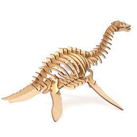 Dinossauro Plesiossauro em MDF 3mm - Quebra Cabeça 3d - Yper Criativo