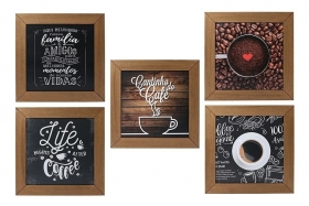 Kit 5 Quadros Decorativos Cantinho Do Café Rústico