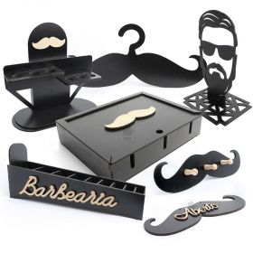 kit Completo para Barbearia 7 itens MDF Preto