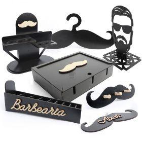kit Completo para Barbearia 7 itens MDF Preto - Yper Criativo