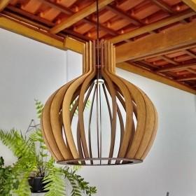 Luminária Pendente Decoração Casa Rustica com Verniz