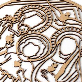 Mandala Quadro 50cm Redondo Sagrada Familia Mdf Decoração