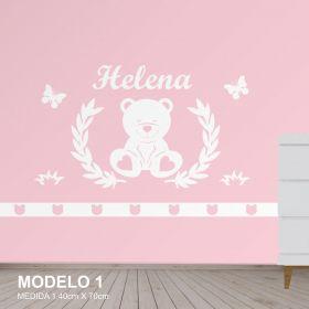 Painel Decorativo para Quarto Infantil Urso com Borboletas - MDF Yper Criativo