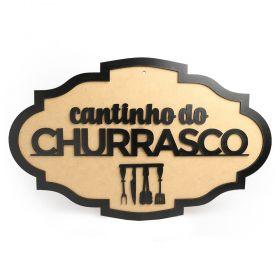 Placa Cantinho Do Churrasco Madeira MDF Crua Linda