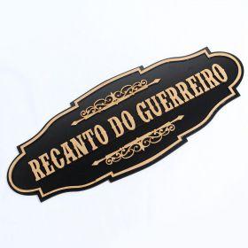 Placa Quadro Recanto Do Guerreiro Madeira Mdf Preto