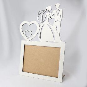Porta Retrato Casal Noivos Laminado Branco Vertical Casamento Foto 20x15cm - Yper Criativo