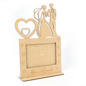 Porta Retrato Casal Noivos Mdf Cru Casamento Foto 15x10cm - Yper Criativo
