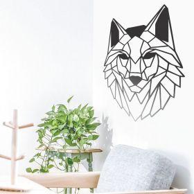 Quadro Decorativo Lobo Vazado Animais Geometricos Mdf