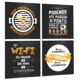 Quadros Espaço Area Gourmet Cantinho Churrasco Preto/amarelo