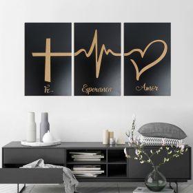 Trio de Quadros Decorativos Fé Esperança Amor Preto Madeira
