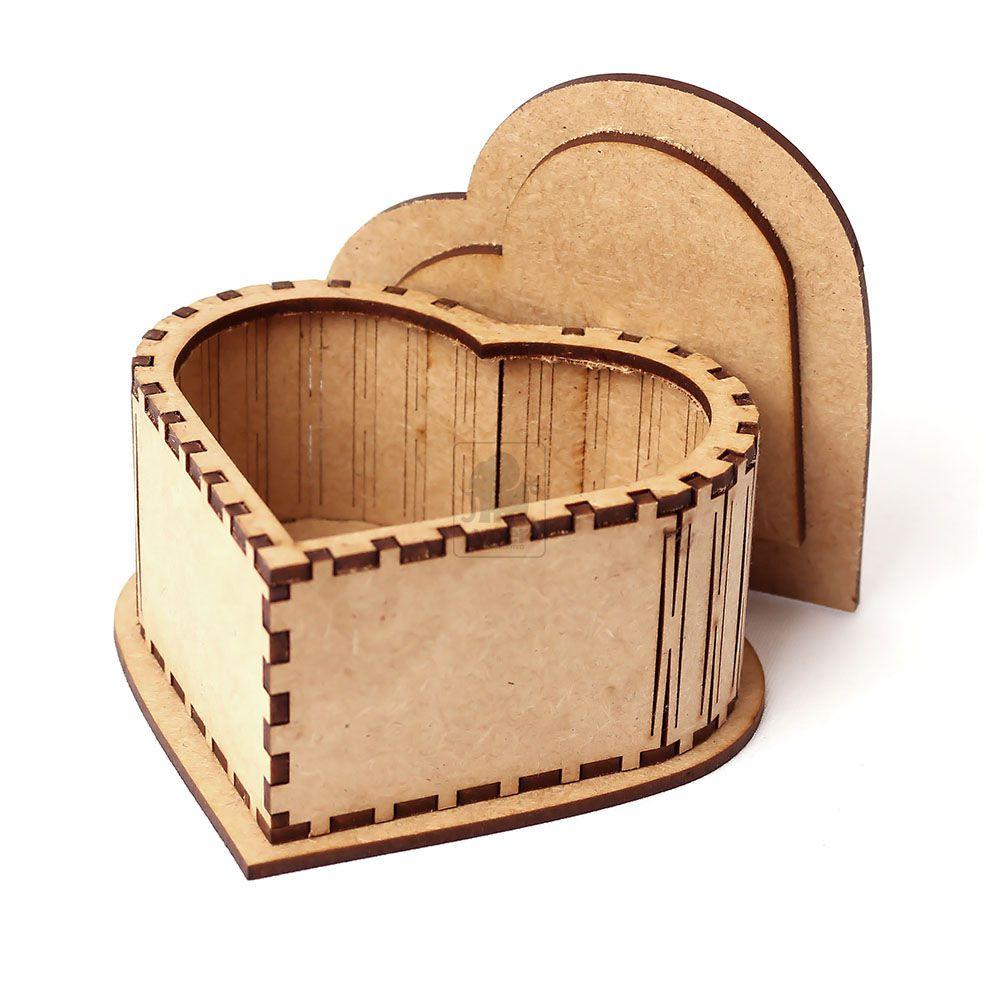 Caixa Coração com Tampa Arabesco de Encaixe - Recorte Especial em MDF CRU - Yper Criativo