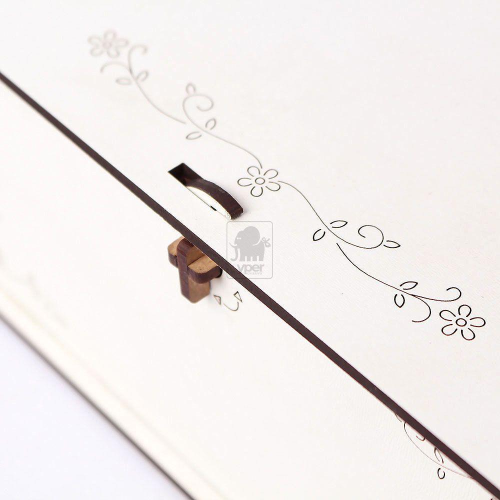 Caixa Padrinho Branca Com Mensagem Gravada na Tampa a Laser e Fecho para Porteção MDF Laminado Laqueado - Yper Criativo