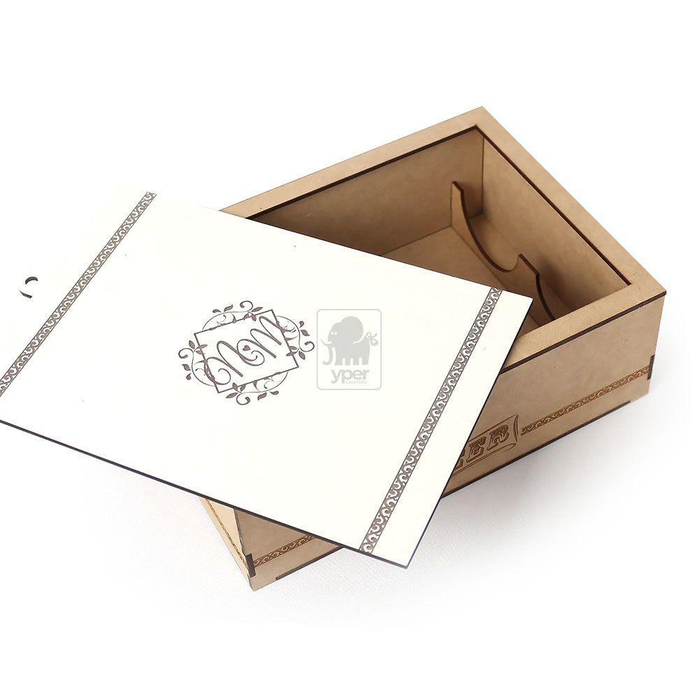 Caixa Padrinho com Cartão em MDF Gravado a Laser e Fecho para Proteção MDF Laminado Laqueado - Yper Criativo