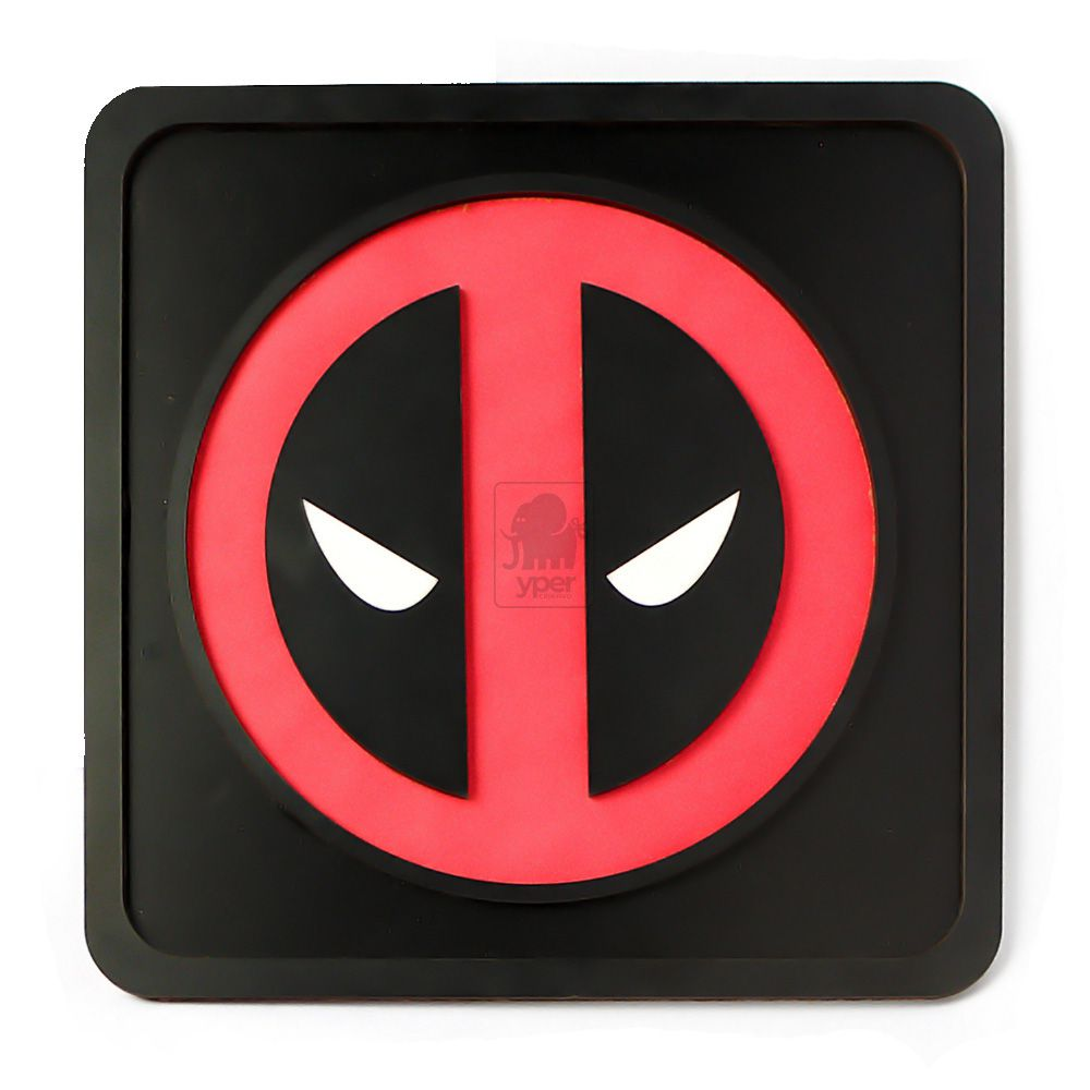Quadro Deadpool Laqueado Preto Alto Relevo 3d Super Heróis - Yper Criativo