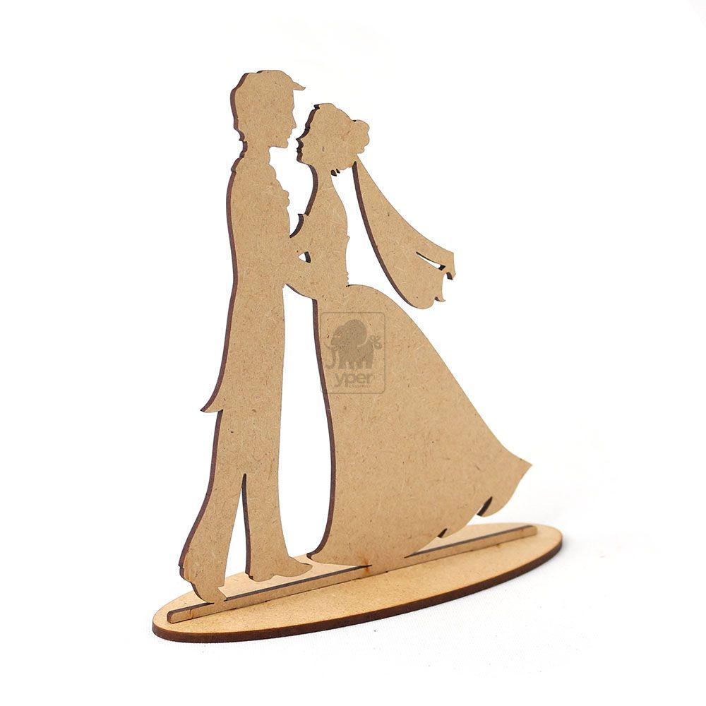 Topo De Bolo Para Casamento Noivos Casal Mdf Cru - Yper Criativo