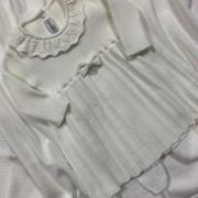 Saída de Maternidade Tricot Vestido Plissado Off White