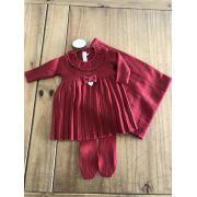 Saída de Maternidade Tricot Vestido Plissado Vermelho