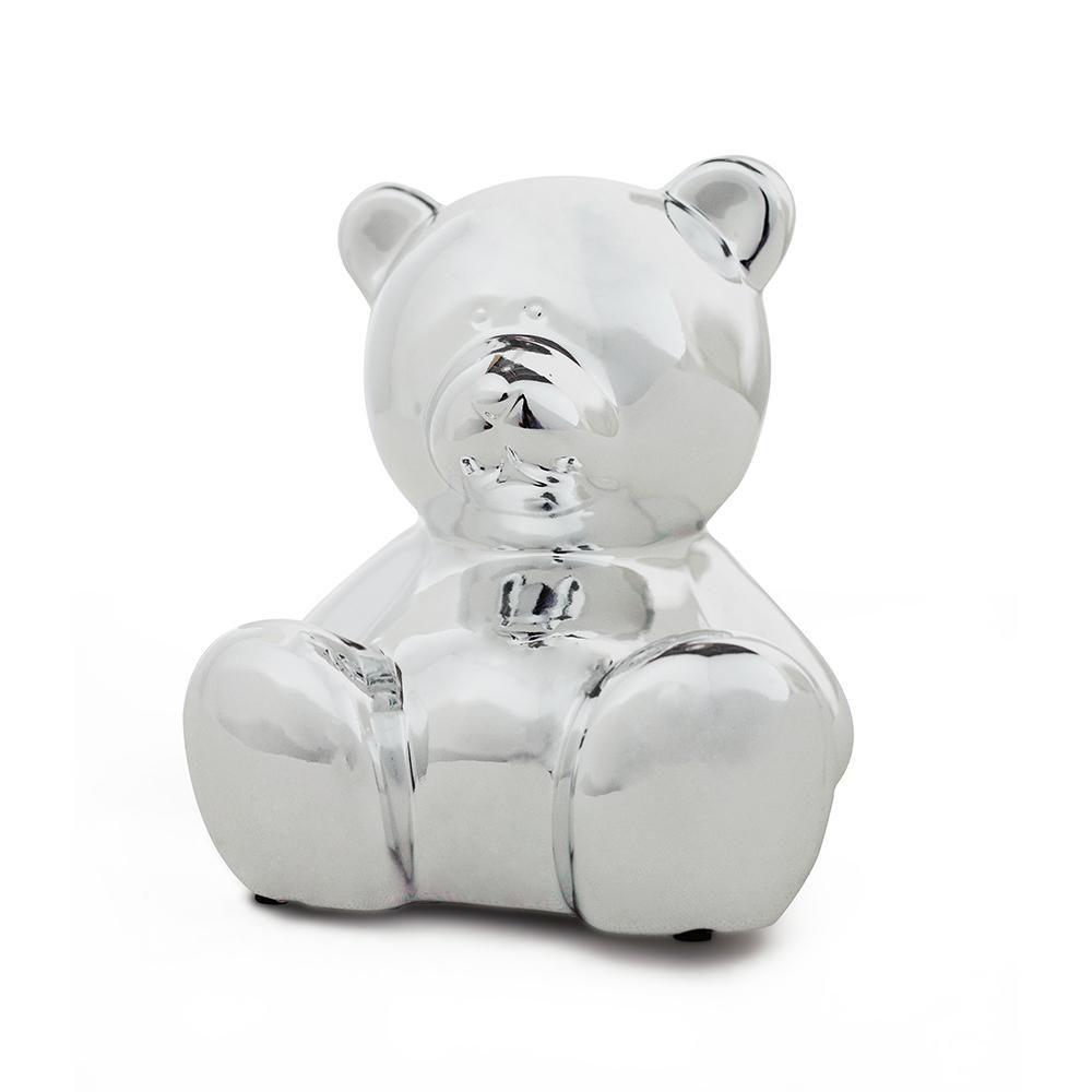 Cofre Urso de Cerâmica Prata