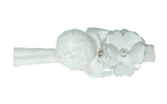 Faixa Meia Branca Flor e PomPom RN