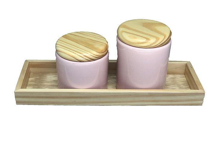 Kit Higiene Madeira com Rosa