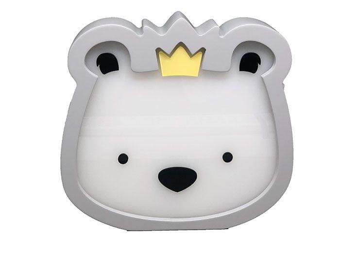 Luminária de Mesa Urso Rei Cinza