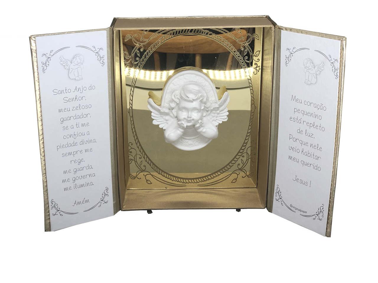 Oratório Anjo Matelasse Dourado
