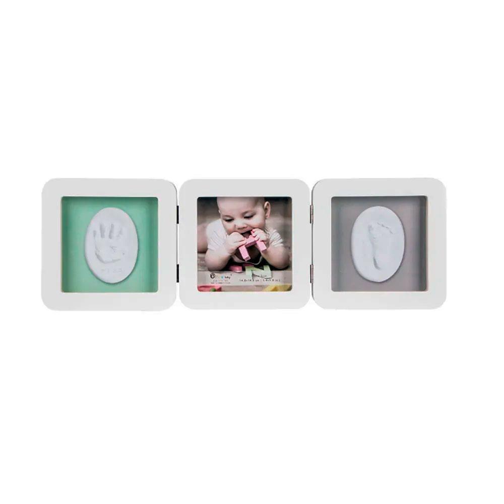 Porta Retrato Triplo com Moldes para Pés e Mãos