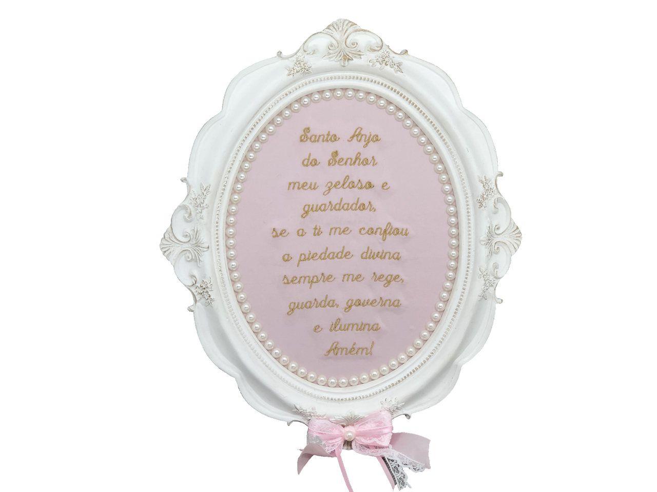 Quadro Oração Santo Anjo Rosa